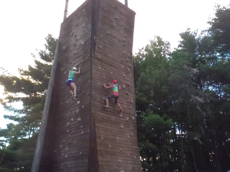 Here's the giant climbing tower at Camp Manitou in Maine. We hang out here for 5 days every summer, and have a blast with extracurricular activities while surfing behind boats!