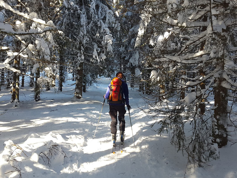 A winter wonderland backcountry ski adventure in Stowe Vermont