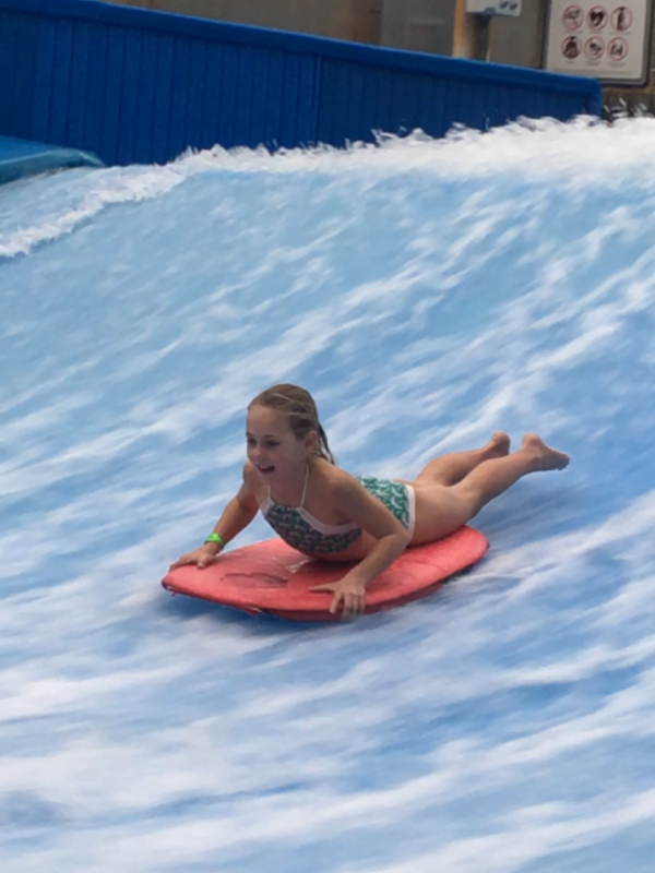 Our campers can try whatever rides they feel comfortable with, even this surfing ride.