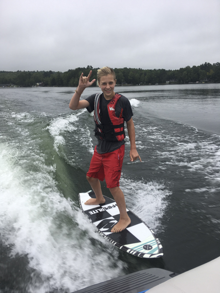 Here's a camper getting up on his board for the first time. Wake surfing is pretty easy, most people get the hang of it within 30 minutes or less.