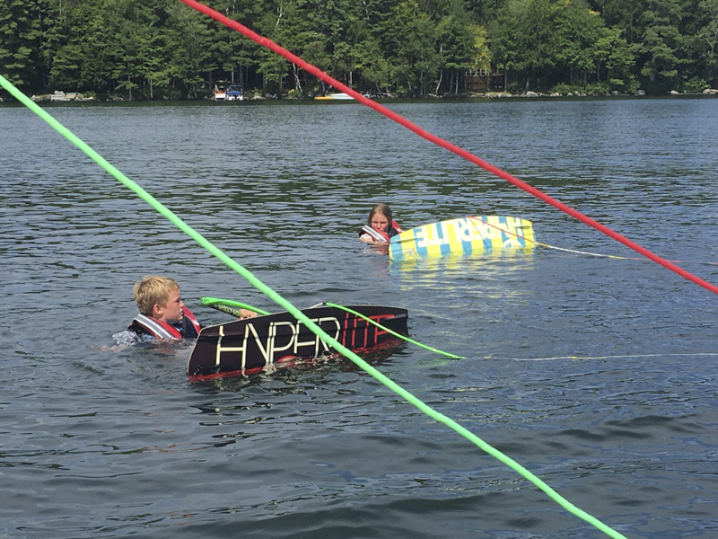 This camper's ready for his tow rope! At Mud City Adventures Summer Wake Sports Camp for Kids, we like to have as much fun as possible.